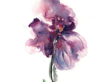 Abstract Watercolor Flower, Original Painting, Purple Flower, Watercolour Art, ON SALE