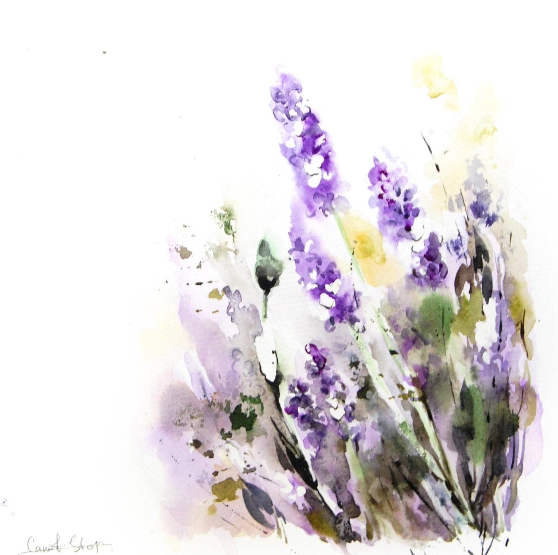 Watercolor Flower Painting: Lavender ORIGINAL Watercolor Painting Floral Modern Painting