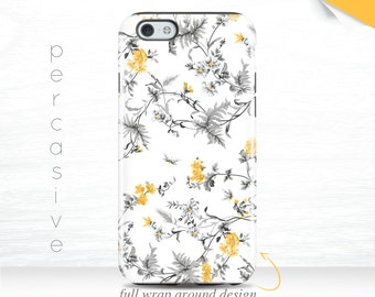 iPhone 7 Vintage Floral Case 3D iPhone 5 Case Srping Floral iPhone 6 Cover , iPhone 7 Plus Case, iPhone 6 Case Yellow Flower  07a