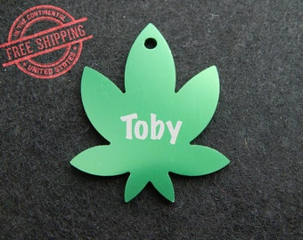 SALE Laser Engraved Cannabis Pot Weed Leaf Dog or Cat Pet ID Tag