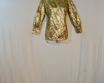 1940s Gold Metallic Abstract Blouse Hollywood Glam Top Chic Luxurious ML