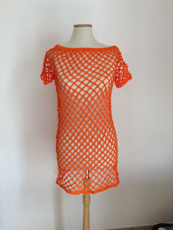 Crochet summer dress, boho dress, orange dress, summer crochet, crochet dress for woman crochet bikini cover, beach dress, orange tunic