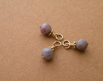 6 mm Indian agate, gold filled pendant bead, charm