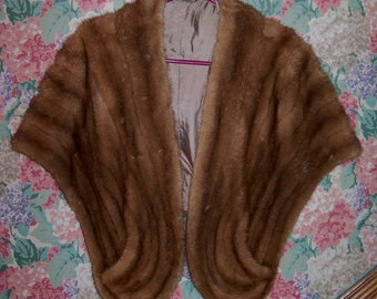 Beautiful Vintage Mink Fur Stole with Pockets