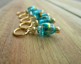 Blue with Gold Swirl Knitting Stitch Markers