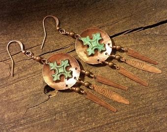 Chandelier Earrings, Metal Earrings, Copper Earrings, Cross Earrings, Boho Earrings