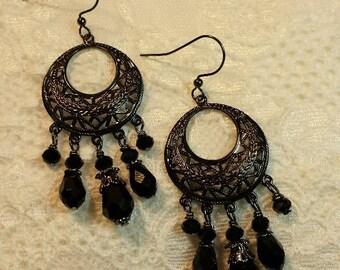 Black Chandelier Earrings, Boho Earrings, Black Crystal Earrings, Chandelier Earrings, Gypsy Earrings