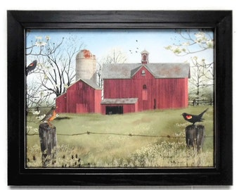 Harbingers of Spring, Billy Jacobs Barn Print, Primitive Picture, Country Decor, Art Print, Handmade, 19X15, Custom Wood Frame, Made in USA