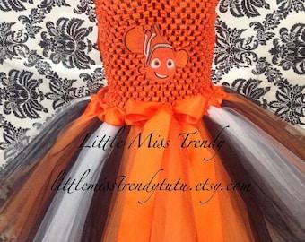 Nemo Tutu Dress, Nemo Halloween Tutu, Nemo Inspired Halloween Costume, Clown Fish Tutu Dress, Nemo Tutu Dress, Nemo