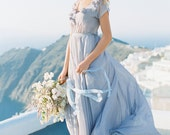 Gentle grey wedding dress with floral decoration//Romantic wedding gown// Chiffon wedding dress of grey color