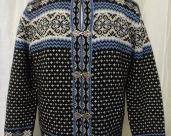 Woolrich Sweater, Nordic-look Sweater, Wool Sweater (Size: Women's Large), Wool Ski Sweater, Black, Blue, White Cardigan, Great Condition