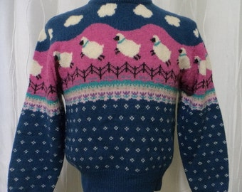 Sheep Lover's Sweater, Sheep Sweater, (Size:  Women's Small), Wool Sweater, Woolrich Wool, Sheep Jumping Fences, Counting Sheep, Farm