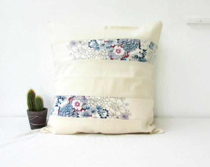 Floral cushion cover, cream cotton pillow cover, 16 inch 40 cms cushion, delicate flower fabric, boho homeware, handmade in the UK