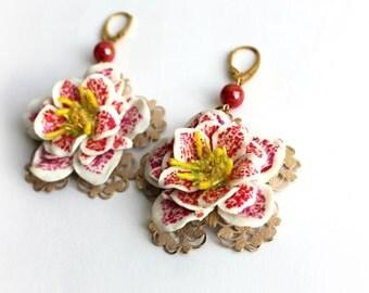 """Earrings """"Hellebore"""" (Christmas Rose)"""