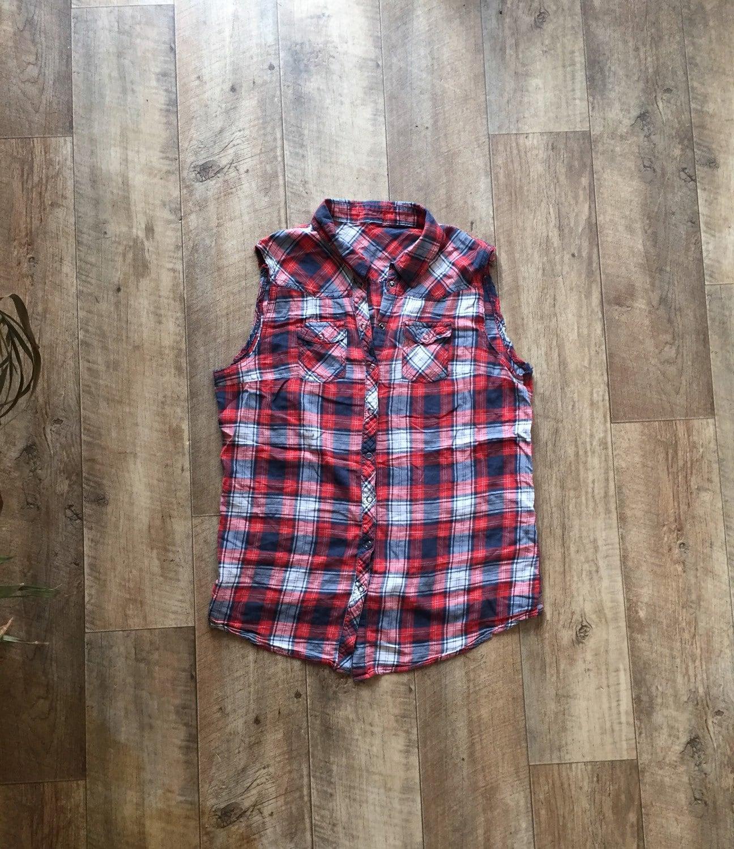 Vintage plaid cutoff shirt red white and blue women 39 s for Red white and blue plaid shirt
