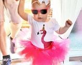 First Birthday Flamingo Bodysuit