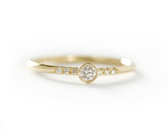 14k Yellow Gold Diamond Engagement Ring,Simple Engagement Ring,Stacking Diamond Gold Ring-Conflict Free