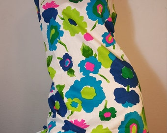 FREE  SHIPPING 1960 Psychedelic Abstract  Dress