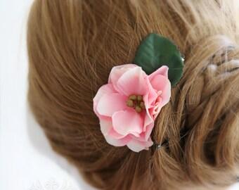 Bridesmaid hair accessory, set of 3, bridesmaid hair clip, wedding hair accessory, Camellia hair accessory, Bridal hair accessory pink