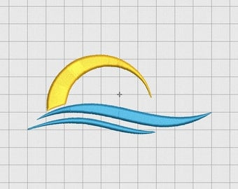 Sun and Waves Embroidery Design in 3x3 4x4 and 5x5 Sizes