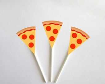 Pizza Cupcake Toppers, Pizza Party Cupcake Toppers, Fast Food Cupcake Toppers