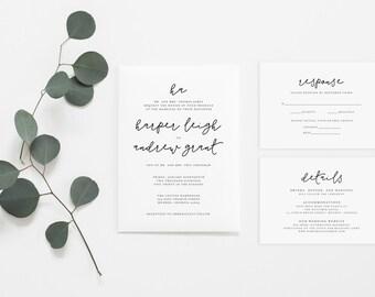 Wedding Invitation Set - Classic Invitation Set - Simple Wedding Invitation - Formal Wedding Invitation Set (006)