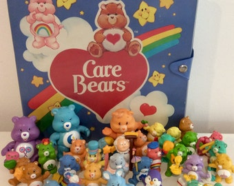 Huge Lot of Vintage Care Bear Figurines, Case and Poseables, Vintage Care Bears, AGC Care Bear, Care Bear Figures, Collectible Care Bears