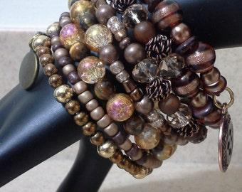 Big Beaded Wrap Bracelet, Bohemian Bracelet, Memory Wire Bracelet, Beaded Bracelet,Charm Bracelet,Southwestern Jewelry