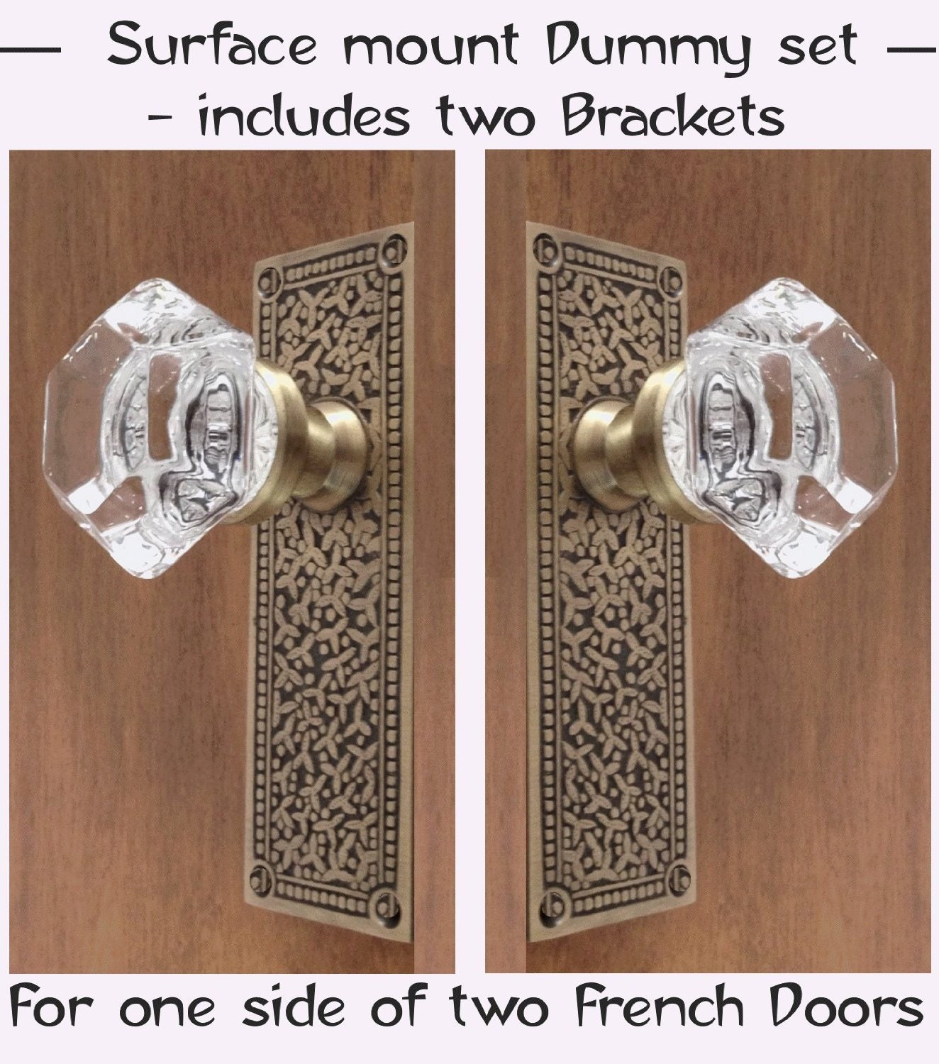 Crystal french door knobs with our designed tall plates for French door knobs