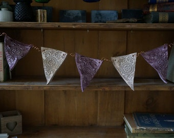Purple and Grey, Indian Style Handmade Ceramic Bunting flags on curled copper wire, unique home decoration