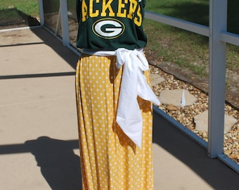 Green Bay Packers Strapless Maxi Dress, made with Upcycled Shirts with sash XS, S, M, L, XL