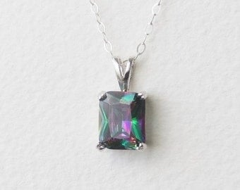 USA Mystic Rainbow Topaz Genuine Natural Pendant set in Sterling Silver, Sterling Chain Available P150