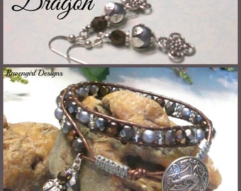 DRAGON 2x Leather Wrap Bracelet. Grey Copper Brown, Czech Glass Pearls,  Boho Vintage Style Handmade Jewelry. Ravengirl Design