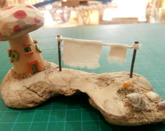 Miniature Hand Carved & Hand Painted House on Driftwood