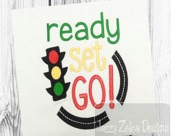 Ready Set Go saying embroidery design - saying embroidery design - race embroidery design - boy embroidery design - stop light embroidery