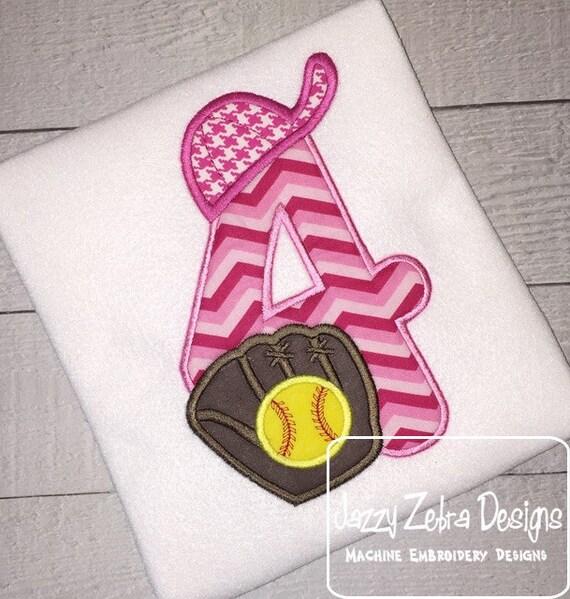 Baseball four Appliqué embroidery Design - Softball four Appliqué embroidery Design - 4th birthday appliqué design - birthday appliqué