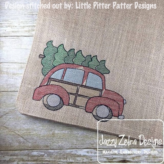Retro Car with Christmas Tree Sketch Embroidery Design - car Sketch Embroidery Design - christmas Sketch Embroidery Design - tree Sketch