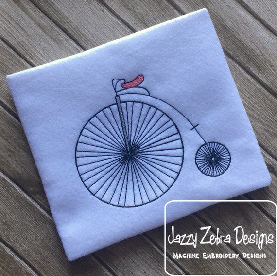 Big wheel retro bicycle sketch embroidery design - bike sketch embroidery design - bicycle sketch embroidery design