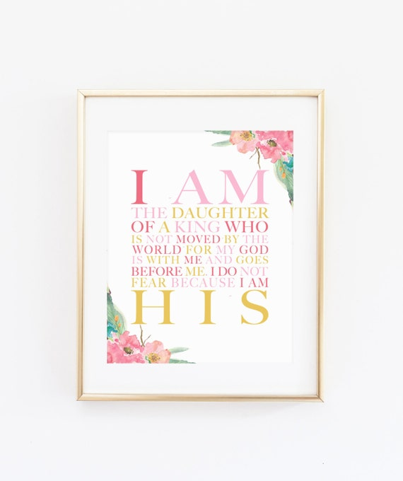 Christian Wall Decor For Nursery : Digital i am his christian wall art daughter of a king