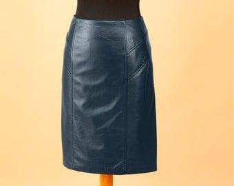 Leather midi skirt | Etsy