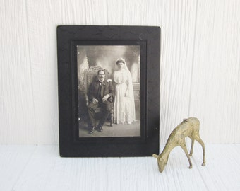 Antique Photo, Antique Wedding Photo, Large Black and White Cabinet Card Photograph, Bride and Groom Victorian Wedding Picture