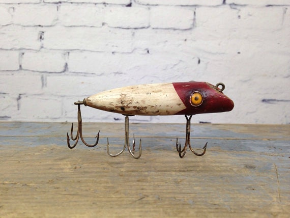 Antique wood fishing lure 1930s wooden fishing lure vintage for Antique wooden fishing lures