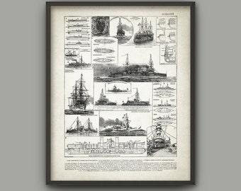 Antique Warship Illustration Print - Navy Warship Art Decor - Pre-Dreadnought Warship Design - Battleship Wall Art - Vintage Warship Poster