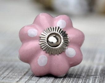 Pink polka dot ceramic melon cabinet knob/drawer pull/baby/kid/bathroom/kitchen/decorative furniture hardware/beautiful/unique/fun