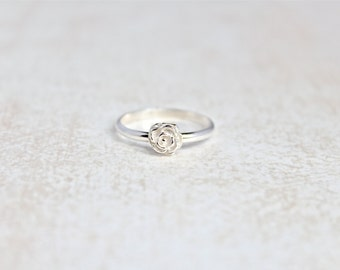 Rose Ring.  Sterling Silver flower Ring.  Stacking rings.  Everyday wear ring.  Flower Ring.  3D flower ring.  Rose Jewelry.