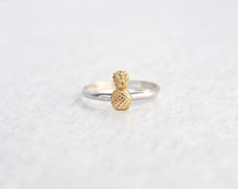 Pineapple Ring.  silver ring with tiny pineapple.  Simple minimal ring with fruit.  Beach tropical jewelry.