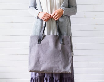 Linen tote bag, Linen beach bag, Waxed linen shopping bag, Large tote, Linen shoulder bag, Linen market bag, Large natural linen tote bag