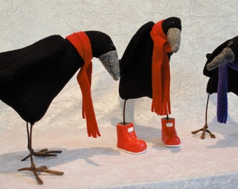 Fabric bird, collectable fabric bird, stuffed rook, rook ornament, Knitwangling, fabric bird art