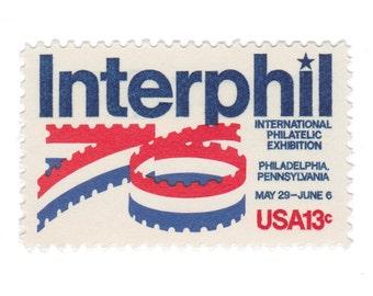 1976 13c Interphil 76' - 10 Unused US Vintage Postage Stamps - Item No. 1632