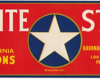 White Star California Melons Crate Label Kavanagh Distributing Los Angeles, California